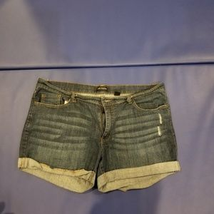 Jean shorts with a little distressing